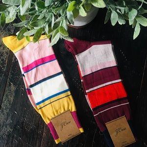 Bundle 2 Pairs J. CREW Men's Striped Dress Socks
